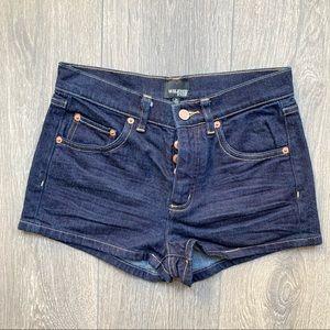 Aritzia Wilfred Free Dark Denim Button-Fly Shorts